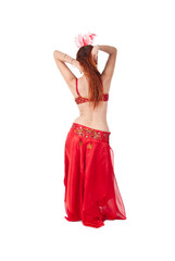 Young beautiful Belly Dancer isolated on white