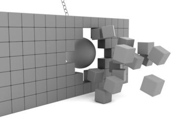 Wrecking ball destroying the brick wall