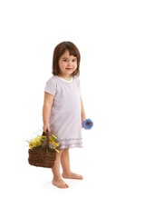Sweet girl with flower basket