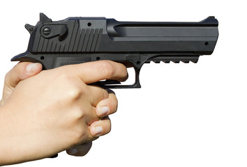 Human hand holding gun