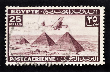 EGYPT - CIRCA 1933 - Postage stamp depicting bi-plane aeroplane
