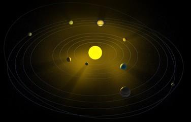 Solar system CG illustration