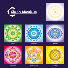 Vector Chakra Symbol Mandalas for Meditation  to Facilitate Grow