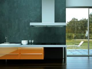 3D Rendering Küche grau orange