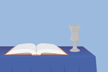 Kiddush Cup and Prayer Book on Table