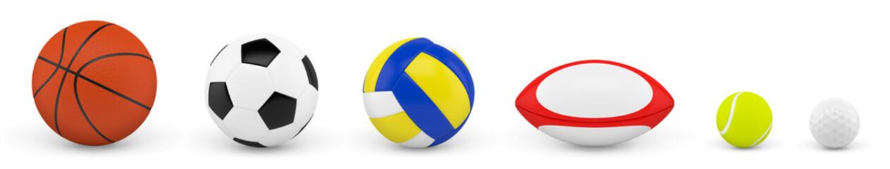 Balles et ballons sur fond blanc 2