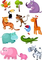 Canvas Prints Zoo animal set