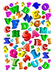 Background with color alphabet. Vector