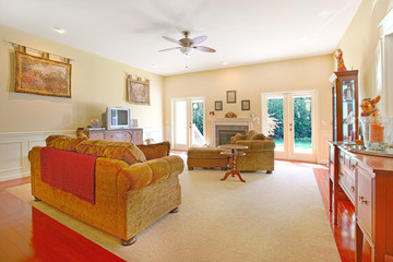 Yellow living room with nice furniture