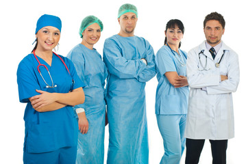 Hospital doctor woman and her team