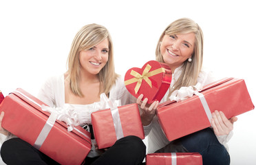 Happy sisters with gifts