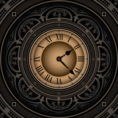 Vintage background with old watch.