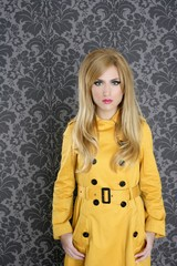 fashion retro woman yellow gabardine coat