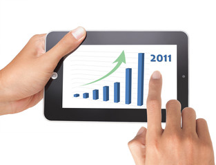 Hand pushing stock growth on tablet pc