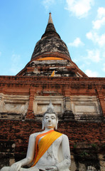 Buddha Statue with Thai ancient city background