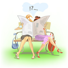 Funny postcard with two girls reading newspaper.