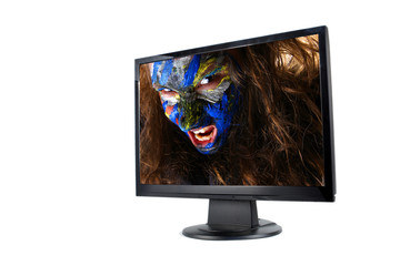 Modern lcd monitor isolated with picture of girl