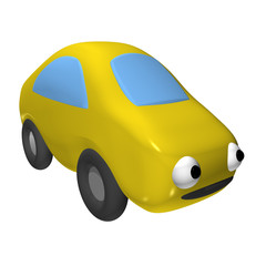 The small toy car 3d with eyes, it is isolated