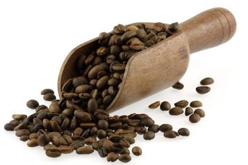 Aluminium Prints Coffee beans grains de café torréfié dans une cuiller-pelle en bois