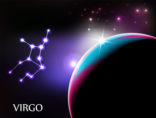 Virgo - Astrological Sign Background with copyspace