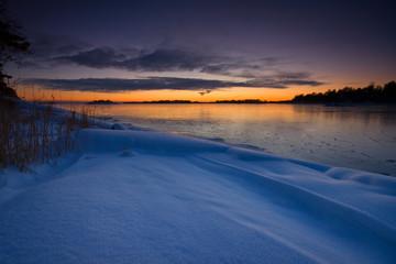 snowy winter sunset