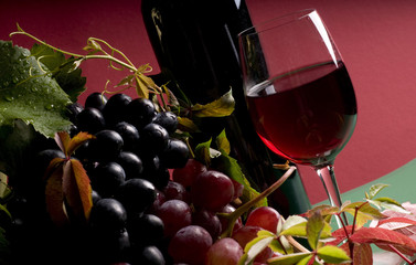 Red wine and grape close-up