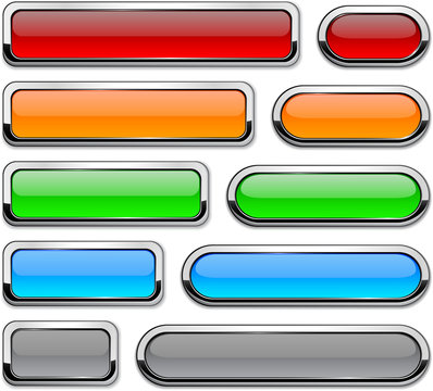 Vector detailed buttons on white.