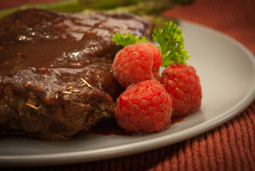 Steak with Raspberry Sauce
