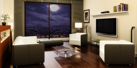Apartment with a TV