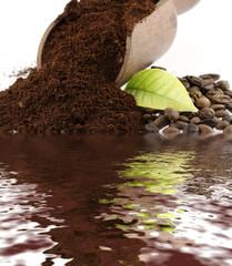 Canvas Prints Coffee beans café moulu, feuille et grains de café