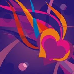 Vector abstract illustration heart and a flame