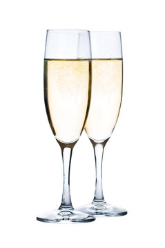 Glasses with Champagne isolated on white