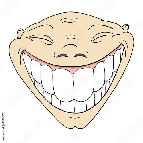"""""""Cartoon grotesque funny face with big toothy smile"""" Stock ..."""
