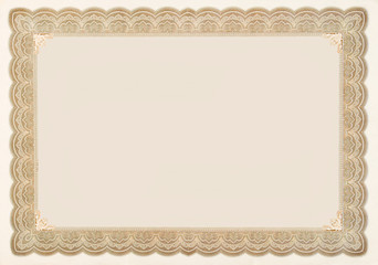 Old Vintage Stock Certificate Empty Border