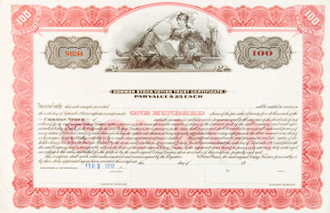 U.S. Stock Certificate 1916 Woman Reclining
