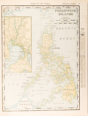 Antique Vintage Color Map of Philippine Islands