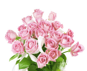 Beautiful Bouquet of Roses over White