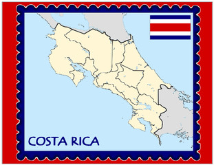 Costa Rica national emblem map coat flag business background