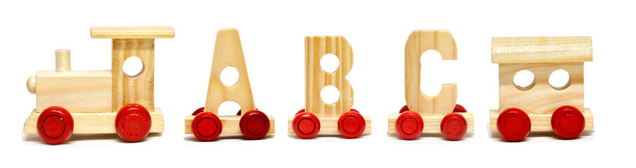 Alphabet train on white background with natural shadows