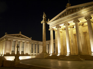 Academy of Athens , Greece , night view , room for type