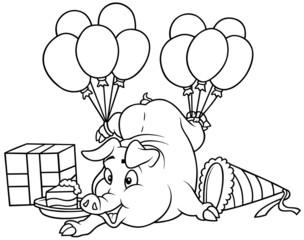 Piglet and Celebration - Black and White Cartoon illustration