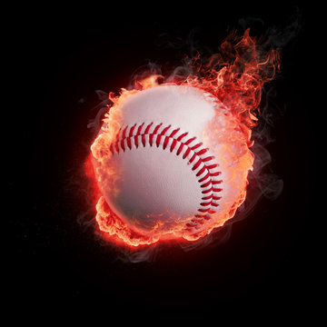 Baseball in flames