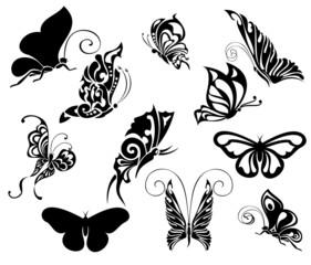 Set of tattoo butterflies