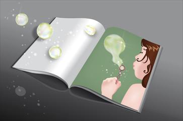libro con bimba e bolle
