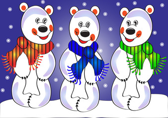 three merry polar bears on snow