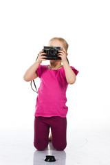 Beautiful girl photographing