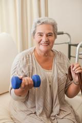 Senior woman doing her exercises