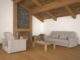 living room with roof beams and fireplace