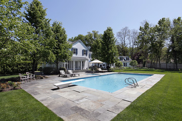 Swimming pool outside luxury home