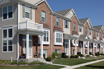 Row of brick townhouses